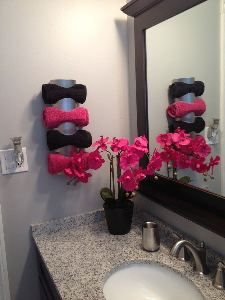 Towel holder using a wine rack from IKEA ikea towel rack Organizing and cleaning id… | Favorites Home Decorations Ideas