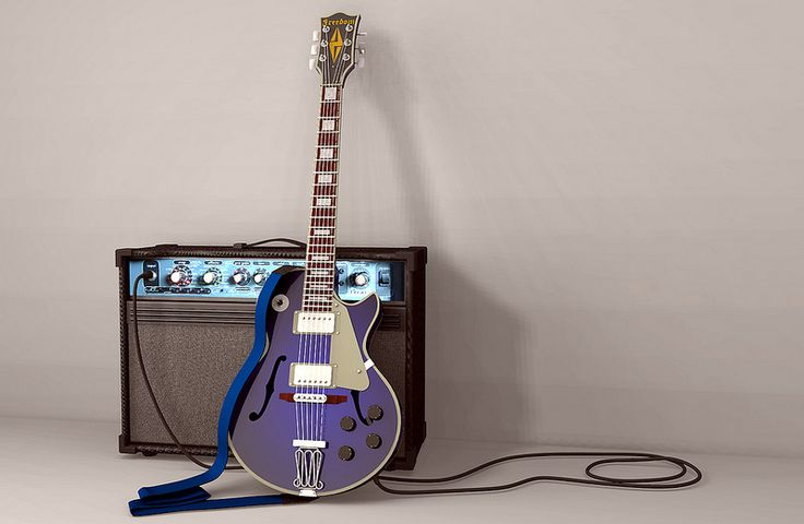 Freedom Les Paul guitar and Peavey amp 3D model / rendering | Created by The CAD Man using IMSI TurboCAD and rendered using Brad Easterday's Softbox add-on for TurboCAD. | #CAD #TurboCAD
