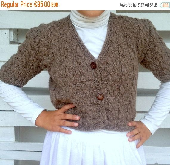 ON SALE 50% Off Knit cardigan Crop Cardigan cable by PixiesFairies