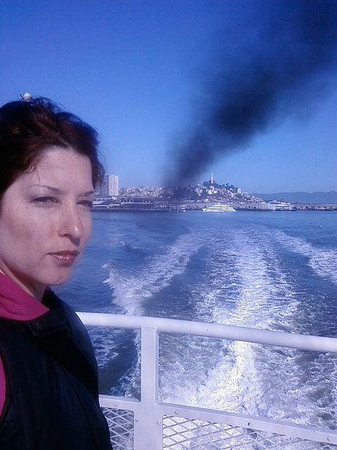 A plume of deadly diesel exhaust pours from the Blue and Gold Fleet Ferry service to Oakland Alameda. They do not use diesel particulate filters and the ferry manager said they do not have any plans to install them. An average of 900 people ride the