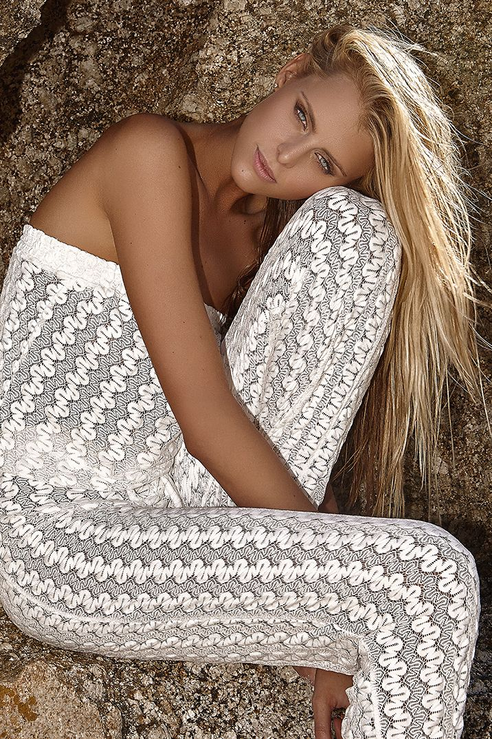 "Melissa Odabash - 2016 Collection - The ""Stella"" crochet jumpsuit in Cream Knit. #MelissaOdabash"