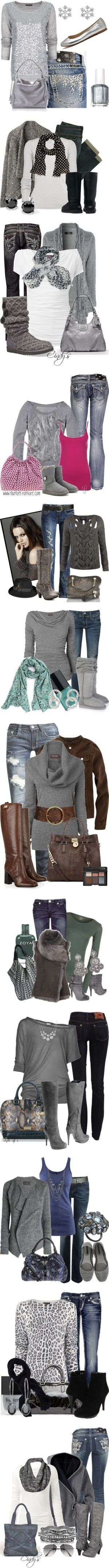 Gray ❤. Not crazy about the animal print shirt and cant do the belted sweater. Love the color accents in most of these.
