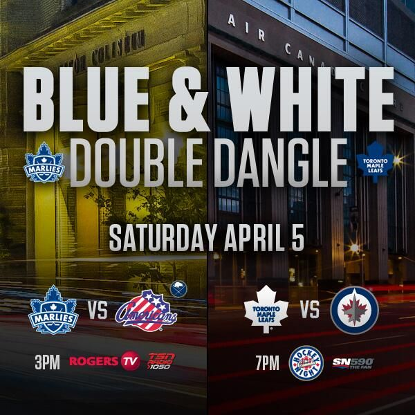 It's another edition of the Blue&White Double Dangle this Saturday! Marlies vs. Americans at 3pm, Leafs vs. Jets at 7pm.