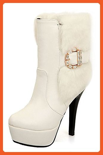 Womens Buckle Platform Pull-On White Imitated Leather Boots - 8.5 B(M) US