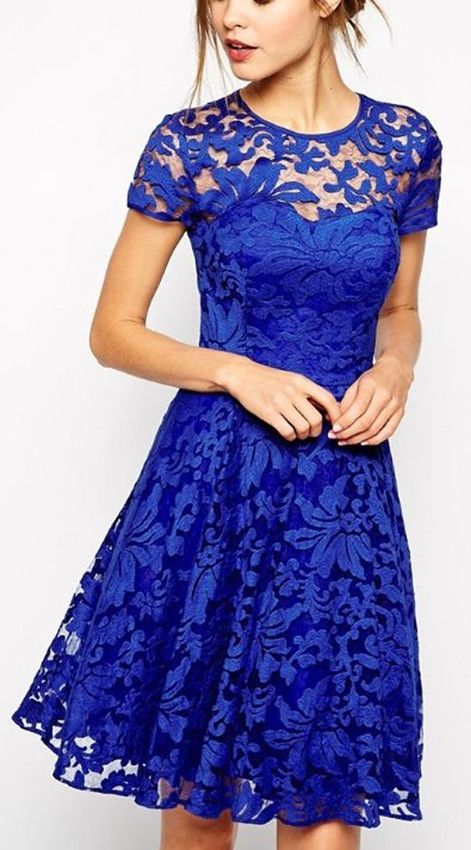 Stylish Round Neck Short Sleeve Solid Color Lace Women's Dress