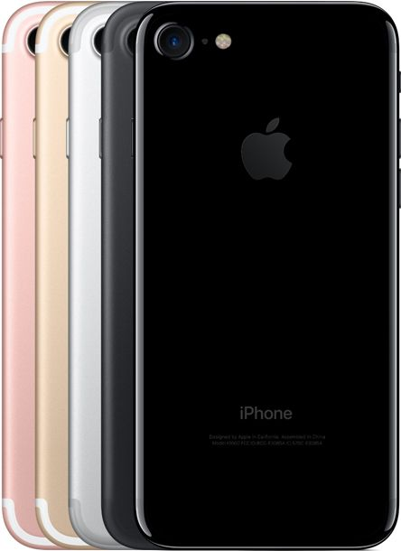 "iPhone 7: Rose Gold, Gold, Silver, Black, Jet Black. (32GB, 128 GB & 256 GB) 4.7"" new Retina HD Display, 3D Touch, A10 Chip, Touch ID, and new 12 MP wide-angle and telephoto cameras; splash, water, and dust resistance."