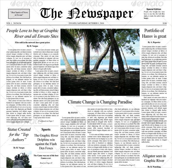 Newspaper Front Page Example Cover Page Template Notebook Paper