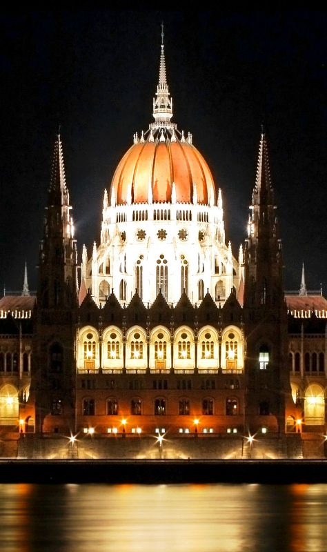 Building. BEAUTIFUL at night.  Click through for story on the day I stopped breathing abroad (Traveling through Budapest at the time.)