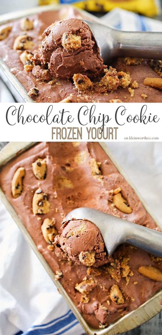 Chocolate Chip Cookie Frozen Yogurt is a simple homemade no churn frozen yogurt recipe that is sure to delight! Chocolate frozen yogurt packed full of chocolate chip cookies, it's an easy frozen dessert recipe you'll love! #BiteSizedBitsOfJoy #ad