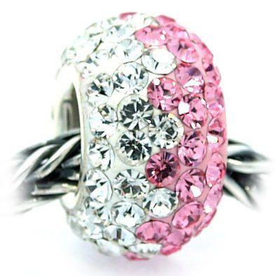 Pink White Swarovski Crystal Bead Charm, 925 Sterling Silver Core, fits Pandora, Troll, Chamilia, Pugster Bracelet(s)