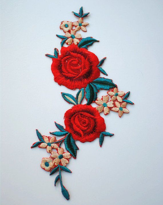 Red Embroidered Flower Applique Patch,Vintage Floral Patch