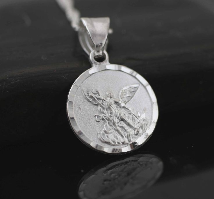 Sterling Silver St. Michael Necklace, Saint Michael Archangel Pendant. Small St Michael Medal. Sterling Silver Medal, St Michael Prayer by theangelfaith on Etsy