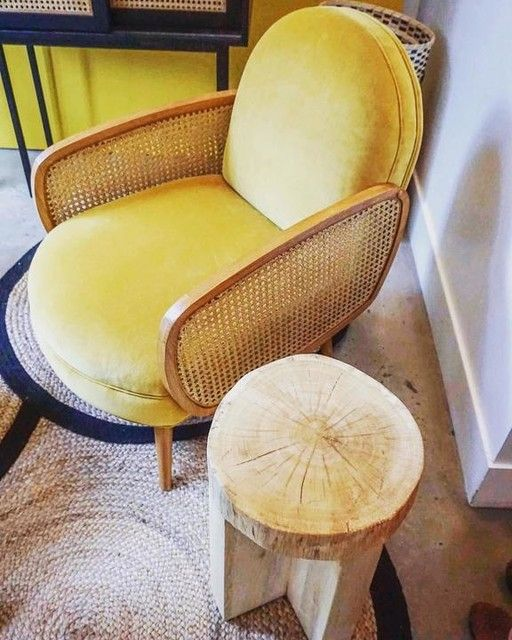 fauteuil velours et cannage buisseau taille taille. Black Bedroom Furniture Sets. Home Design Ideas