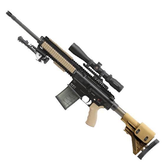 H&K MR762A1 (LRP) Semi Auto Rifle 7.62 NATO 16.5 Barrel 20 Rounds Collapsible Stock Tan Furniture Leupold 3-9x40 VXR Patrol Scope with Pelican Case Black MR762LRP-A1