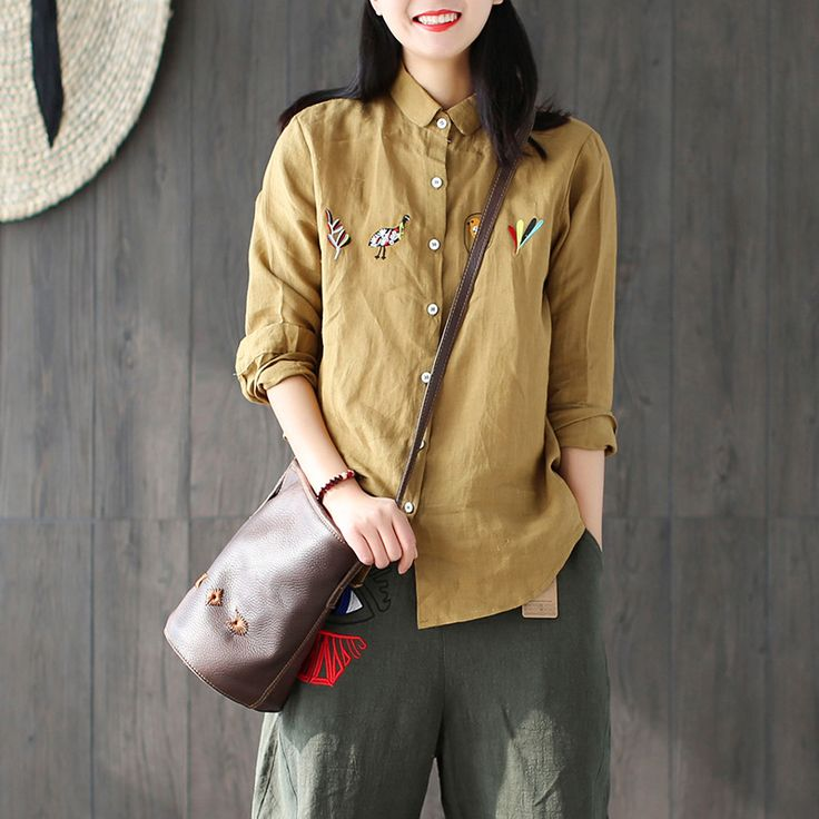 Women White Yellow Navy Orange Shirts Vintage Button Loose New Embroidered Retro Casual Blouses Cotton Linen Tops Original