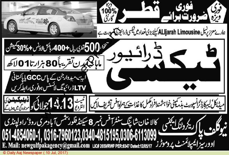 Taxi Driver Jobs In Qatar
