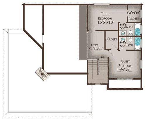 Величезна веранда - 13318WW   країни, Лог, Гора, відпочинок, ексклюзивний, 1-й поверх спальня, існуючих САПР, Лофт, Формат файлу PDF, обернути навколо ганку   архітектурні проекти