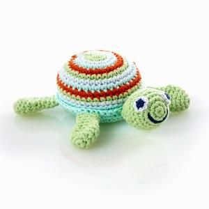 A gorgeous gift for baby. This crocheted toy was handmade by women in Bangladesh, so slight variations in colour, size and design are to be expected. No two to