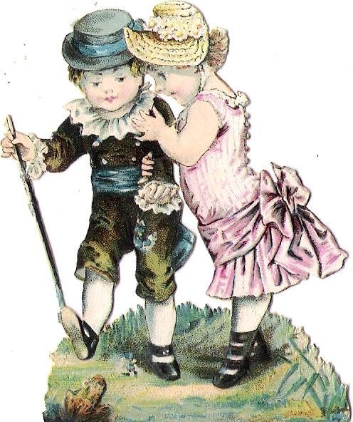 Oblaten Glanzbild scrap die cut chromo Kind child enfant couple Paar Frosch frog