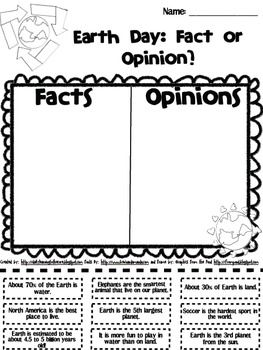 {Freebie} Earth Day: Fact and Opinion - Amanda Zanchelli - TeachersPayTeachers.com