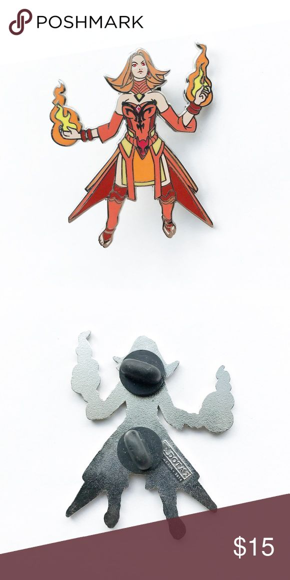 """🔥 Collectible Lina DOTA 2 Enamel Pin 🔥 Collectible Lina from DOTA 2 Enamel Pin  • 2"""" x 1  1/2"""" • colors: gold, yellow, orange, red, white, cream • tags: slayer, fire, element, queen, chibi, trading, hat, jacket, vest, lapel, bag, 2014, princess, sexy, crystal maiden, rylai, world of Warcraft, redhead, fiery, video game nerd, lover, memorabilia, defense of the ancients  • all of the pins I sell are used and may contain minor nicks, imperfections, or oxidation Vintage Accessories"""