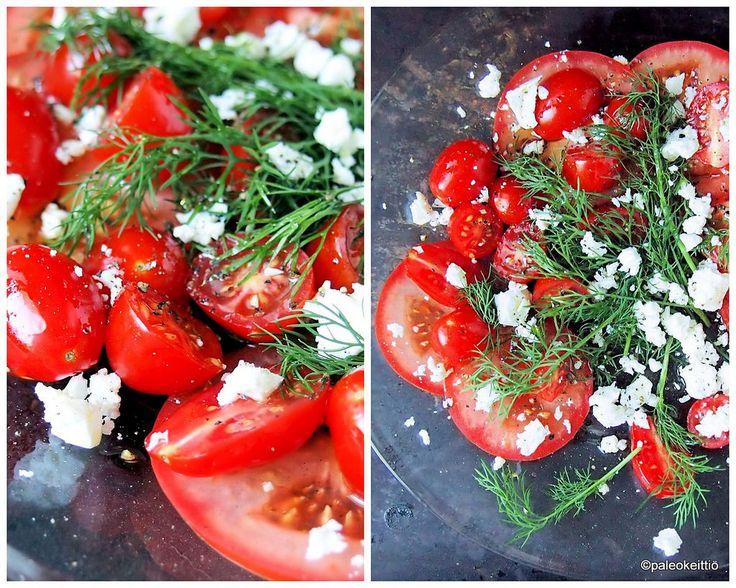 Tomaatti tykkää tillistä! /// Helposti herkullista ja terveellisen tuoretta syntyy hetkessä kun samaan syssyyn pistetään tomaatti ja tilli. Viimeistelyyn vielä öljyä, fetaa ja pippuria, niin tomaattinen lounaslautanen tai lisuk…