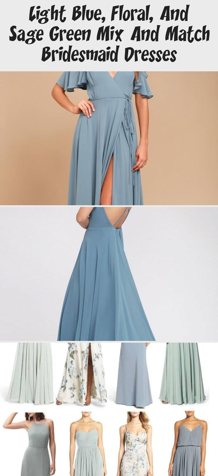 Blue floral and mist sage green mismatched bridesmaid dresses by Jenny Yoo #PinkBridesmaidDresses #BridesmaidDressesBeach #MermaidBridesmaidDresses #GoldBridesmaidDresses #BridesmaidDressesIndian