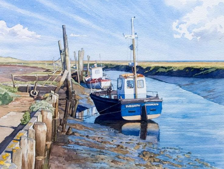 Thornham Creek (watercolor by Brian Robinson) I really love the sky in particular