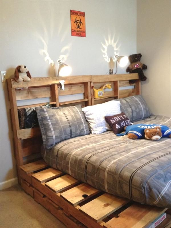 Creative Pallet Bedroom Furnishing Plans You Can Use To Transform Your Bedroom Decor Diy Big Palle Pallet Furniture Bedroom Pallet Bed Frame Bed Frame Design