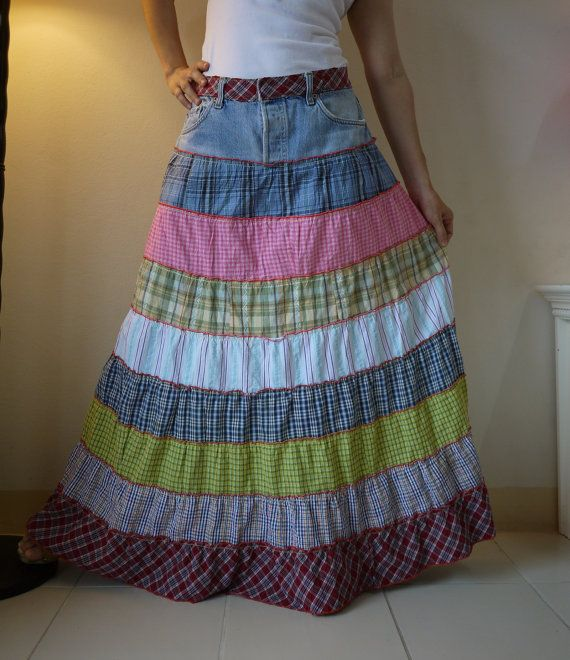 This is my next project! Fantasy Patched Tiered Long Hippie Funky Denim by beyondclothing
