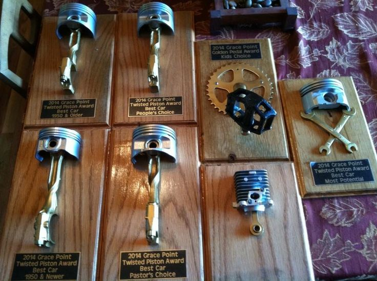 Homemade trophies for a local church car show. What a neat design! Completely do-able for anyone with parts like these. :-)