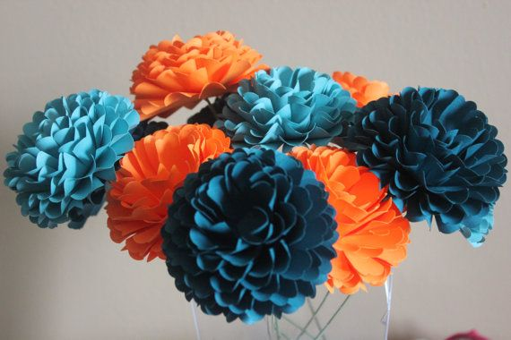 Paper Flowers - Handmade - Dahlias- Unique, Made to Order - Teal, Orange, Turqouise- Wedding - Bridal/Baby Shower/Birthday- Set of 12