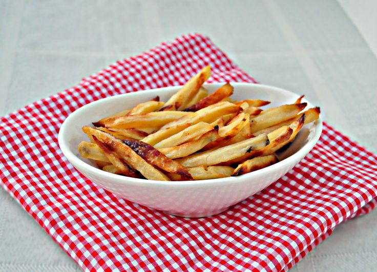 Healthy French Fries.  These are baked, not fried.  Totally AMAZING!  My kids love them!