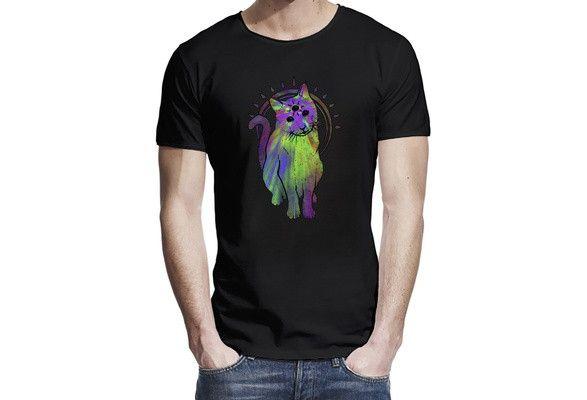 Men's Unique Psychedelic Trippy Rave Cat T-Shirt