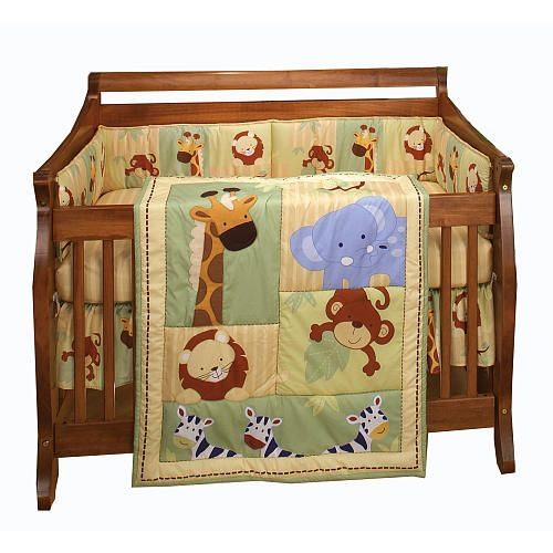 nojo safari kids 4 piece crib bedding set crown craft babies r us kids corner baby. Black Bedroom Furniture Sets. Home Design Ideas