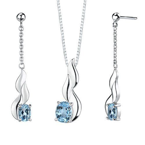 4.25 carats Oval Shape Swiss Blue Topaz Pendant Earrings Set in Sterling Silver Rhodium Finish . Save 38 Off!. $74.99