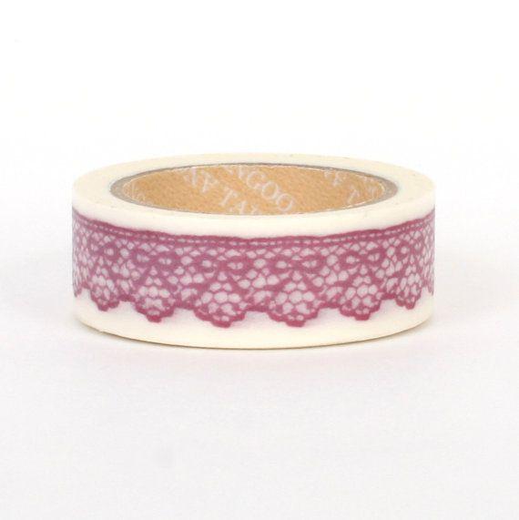 Washi tape / masking tape 10m  Purple scalloped lace by Vespapel, $2.30