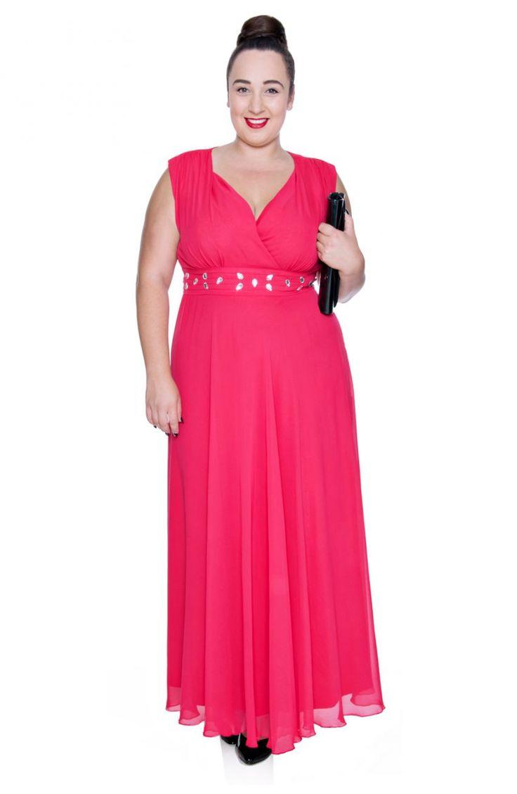 Długa malinowa szyfonowa sukienka z szalem - Modne Duże Rozmiary