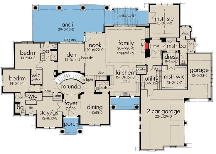 1095 best images about floor plans on pinterest floor for Two car garage plans with bonus room