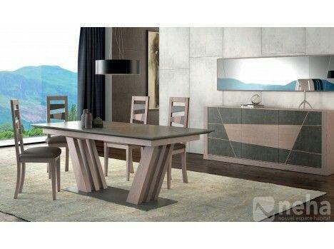 belle salle a manger avec ceramique et tablerepaspiedcentral moderne et son grand buffet tendance bois