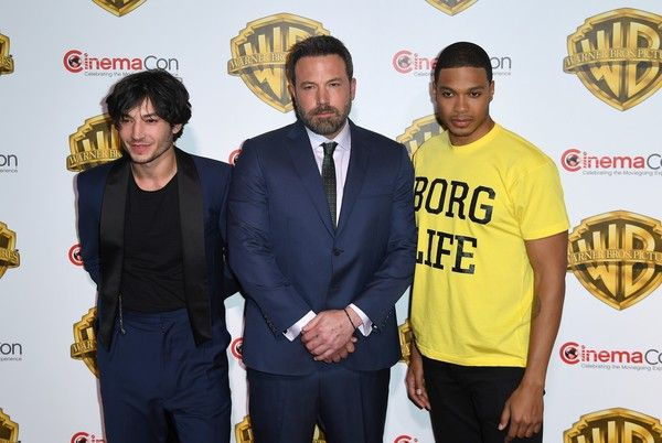 Ezra Miller Photos Photos - Actors Ezra Miller, Ben Aflleck and Ray Fisher arrive at CinemaCon 2017, Warner Bros Pictures Invites You to ?The Big Picture?, at The Colosseum at Caesars Palace during CinemaCon on March 29, 2017 in Las Vegas, Nevada. / AFP PHOTO / ANGELA WEISS - CinemaCon 2017 - Warner Bros. Pictures Presentation