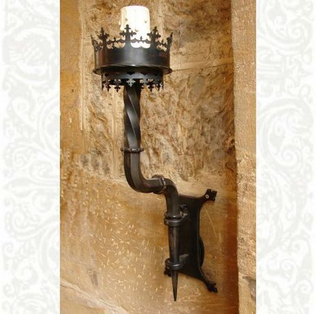 Large gothic wall torch hand forged in iron