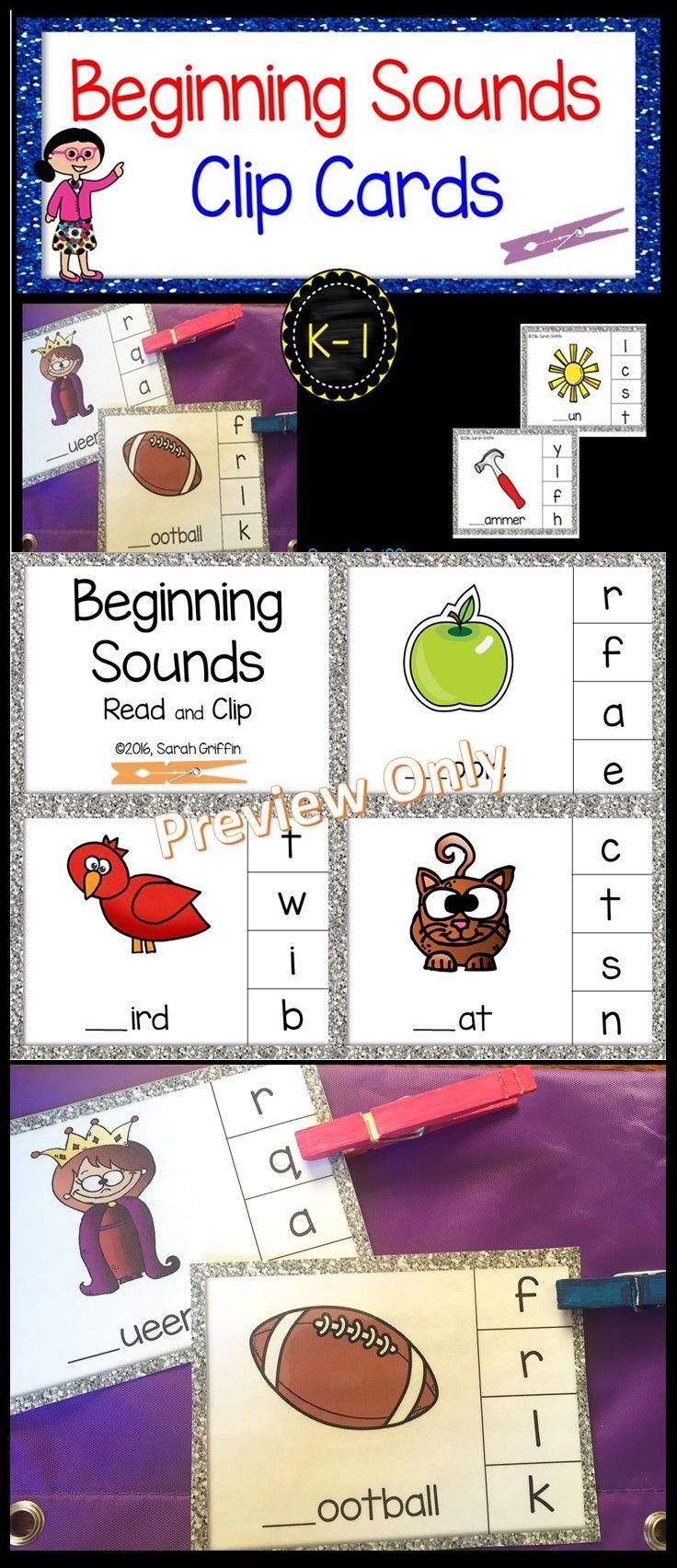 Beginning Sounds Clip Cards   Clothespin center   Preschool   Kindergarten   First Grade   ELA   centers   games