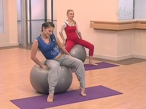 Упражнения с фитболом для беременных - YouTube