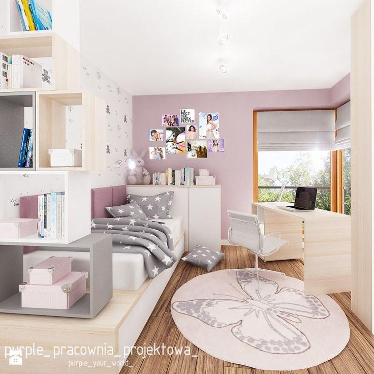 Dom jednorodzinny w Siedlcach - Średni pokój dziecka dla dziewczynki dla nastolatka, styl nowoczesny - zdjęcie od PURPLE PRACOWNIA