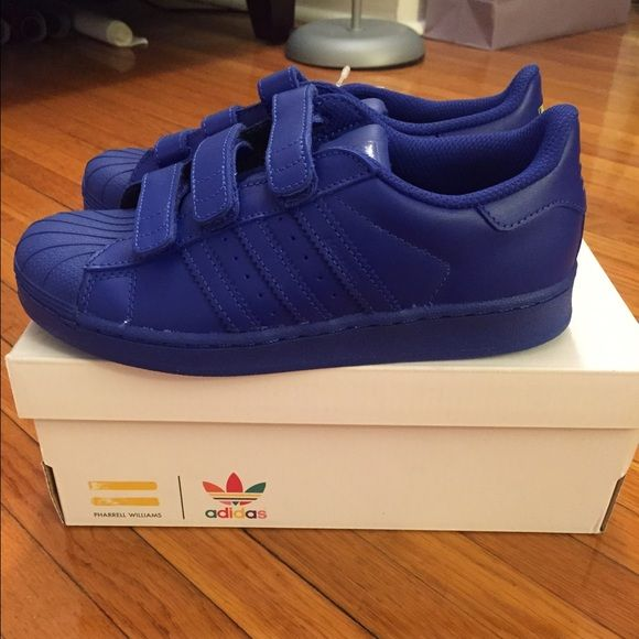 Adidas Pharrell Williams Superstar Supercolor Adidas Pharrell Williams Superstar Supercolor kids Size 3 us royal blue. Never worn. Brand new with box Adidas Shoes Sneakers