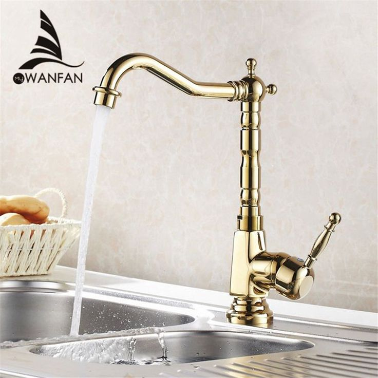 Free shipping Golden brass kitchen faucets swivel kitchen tap faucets single hand hot cold wash basin mixer water tap HJ-6707K