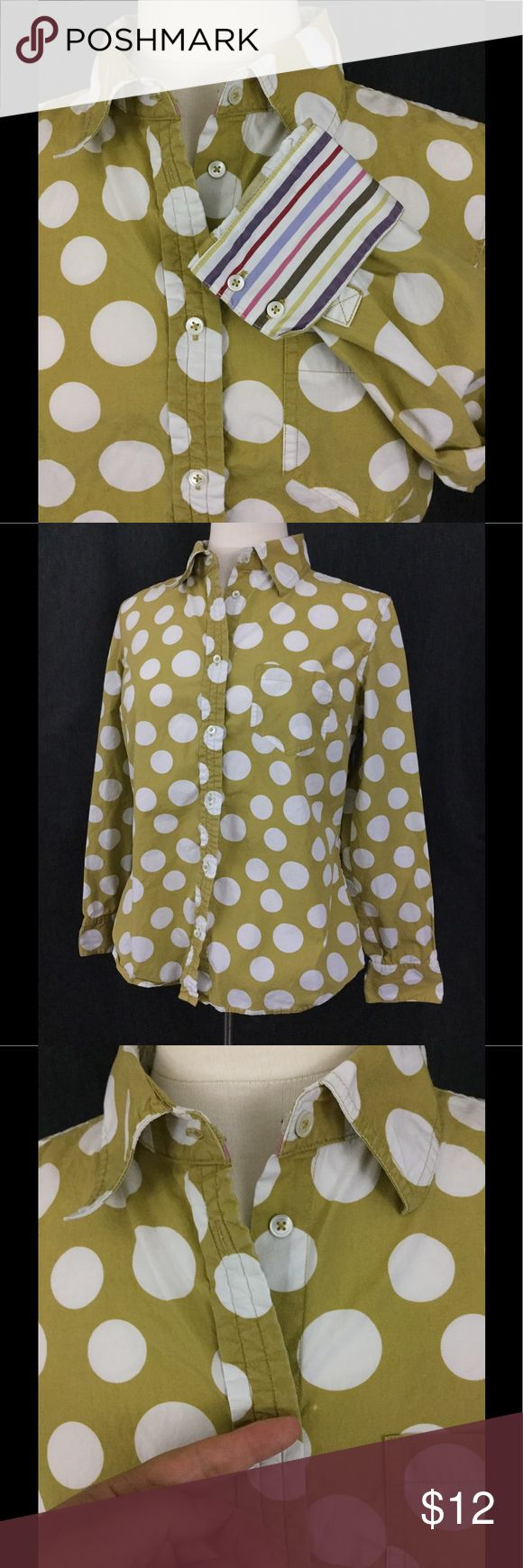"Boden flip contrasting cuff button down shirt Big polka dot print in green and off white with contrasting striped cuffs, one small spot shown in pic 3, really fun layered under short sleeve tees for a preppy yet laid back look. Chest measures 20"" across, length is 24"" size 16 but will fit many 12-14, runs a bit small in my opinion. Boden Tops Button Down Shirts"