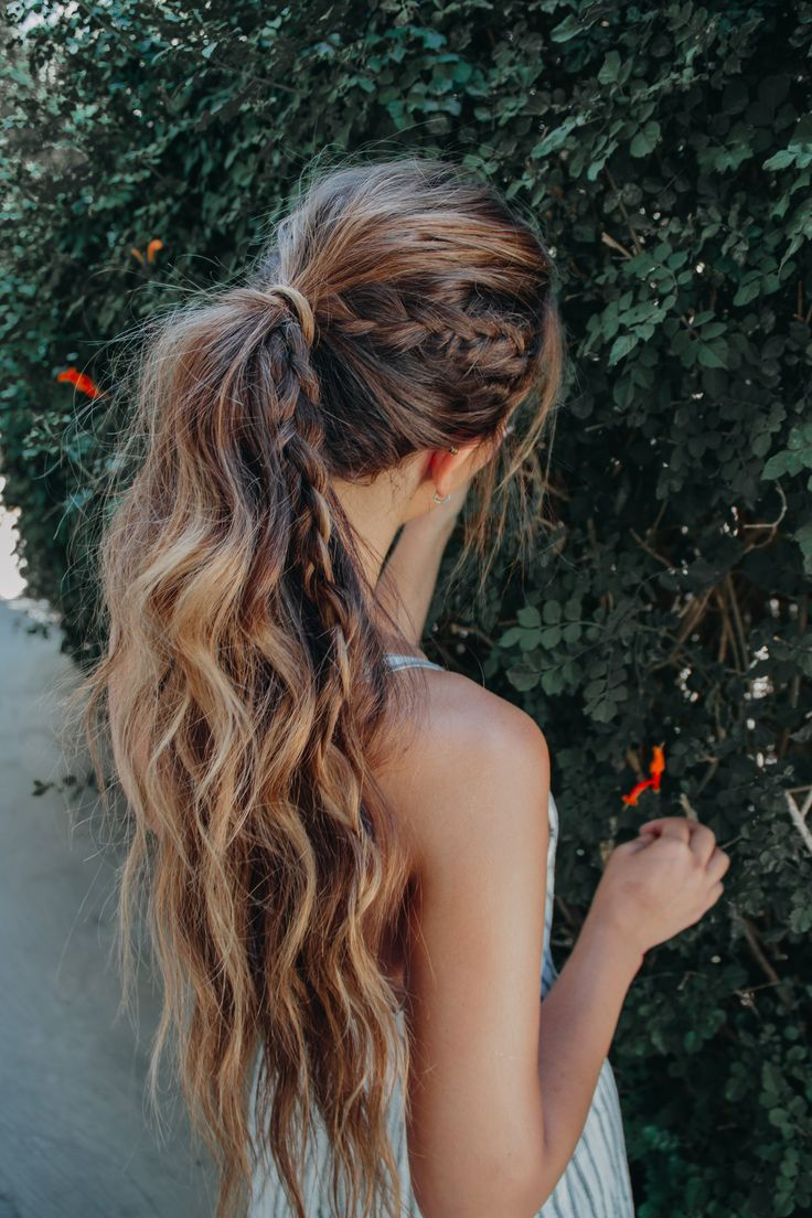 high ponytail bohemian hairstyle for long hair with a braid. messy and easy beac #hairstyles