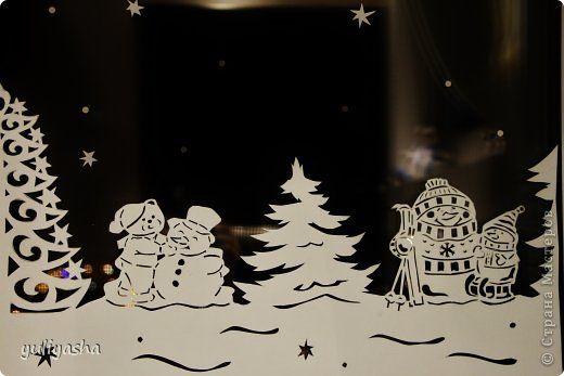 Декор предметов Новый год Аппликация Новогодние окна   Бумага фото 4